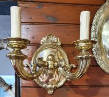 Restaurált antik barokk réz dupla karú falikar