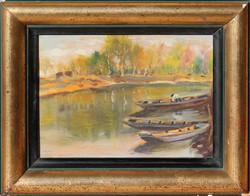 Halász a folyón! Váty Zoltán: Csónakok a folyón
