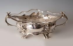Ezüst szecessziós csónak alakú kínáló