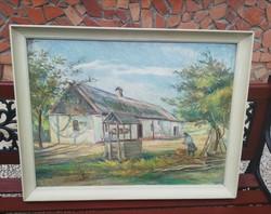 Várady L. Szignós Gyönyörű paraszti tájas festmény, kúttal, parasztházzal, Gyűjtői szépség