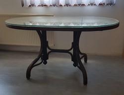 Mid century - Thonet asztal  szép nádazással
