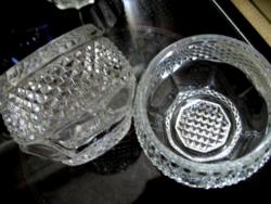 Gyémántmintás Oberglas vintage cukortartó, kínáló, mécsestartó pár