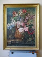Pfilf Éva - Csendélet. másolat  Mérete: 80 x 60 cm. Jacobus Linthorst  virágcsokor csendéletről