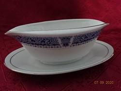 KANEHAN japán porcelán szószos tál, ezüst szegélyes.