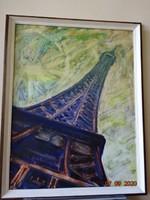 Tóvári Tóth István  - Eiffel torony kép.  Mérete: 90 x 70-es