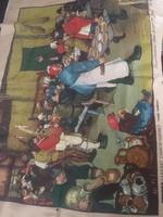 Hatalmas goblein/gobelin alap Pieter Bruegel:Parasztlakodalom festményével