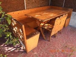 Népies fa (kerti) ülőgarnitúra, (kecskelábú) asztal, pad, szék