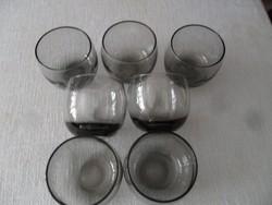 Retro füst színű, golyó alakú pohár készlet , mécses tartó,7 db-os