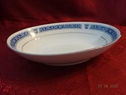 KANEHAN japán porcelán ovális köretes tál, ezüst szegélyes.