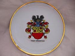 Vastagon aranyozott ritka gyártmány emlék tányér, dísz tál