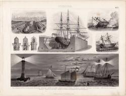 Úszó dokk, világítótorony, egyszín nyomat 1875 (21), német, Brockhaus, eredeti, jelzőhajó, hajó