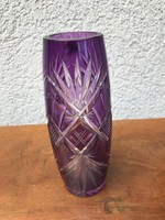 Lila metszett csiszolt üveg váza P224