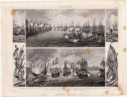 Tengeri csata, egyszín nyomat 1875 (7), német, Brockhaus, eredeti, hadihajó, fegyver, flotta, hajó