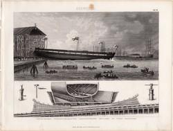 Hajóépítés, egyszín nyomat 1875 (16), német, Brockhaus, eredeti, páncélos fregatt, ék, metszet, hajó