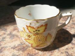 Herendi mokkás, kávés csésze szép állapotban! Különleges Apponyi, exta sárga színű, gyüjteménybe!