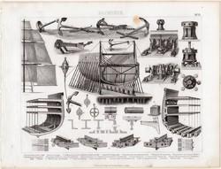 Hajó részei, egyszín nyomat 1875 (13), német, Brockhaus, eredeti, vitorla, hajótest, horgony, lánc