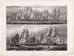 Gőzhajó, egyszín nyomat 1875 (10), Brockhaus, eredeti, hadihajó, Északnémet flotta, páncél, hajó
