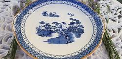 Antik angol kék jelenetes keleti motívumos füles kínáló tál