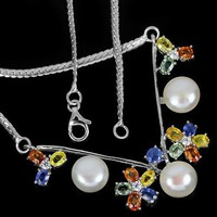 Genuine sapphire freshwater pearl line 925 silver necklace