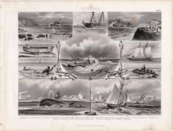 Mentés és halászat, egyszín nyomat 1875 (19), német, Brockhaus, eredeti, mentőbója, csónak, hajó