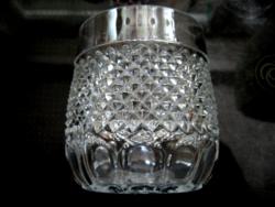 Gyémántmintás Oberglas vintage cukortartó, kínáló, pohár