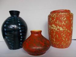 3 db retro Tófej kerámia váza