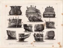 Invincible, sorhajó, egyszín nyomat 1875 (6), német, Brockhaus, eredeti, hadihajó, tat, hajó, nézet
