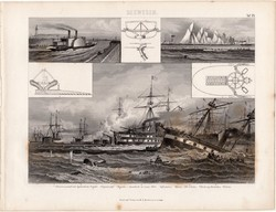 Tengeri csata, Lissa 1866, egyszín nyomat 1875 (25), Brockhaus, eredeti, regatta, gőzhajó, hajó