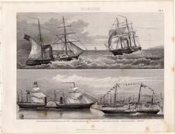 Gőzhajó, egyszín nyomat 1875 (8), Brockhaus, eredeti, hadihajó, fregatt, 1839, utasszállító, hajó