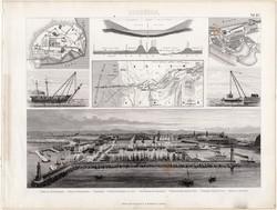 Szuezi - csatorna, Marseille kikötő, egyszín nyomat 1875 (20), német, Brockhaus, eredeti, daru, hajó