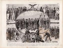 Tengerészet, tengerész, egyszín nyomat 1875 (24), német, Brockhaus, eredeti, francia, angol, hajó
