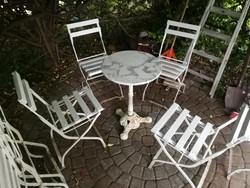 4 db kerti vas szék, összecsukható, nehezebb anyagból! Vintage, retro, kerti terasz bútor. Praktikus