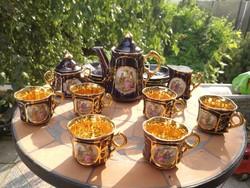 Ilmenau   mokkás, kávés jelenetes, különleges kobaltkék 6 személyesen luxus.  Gyönyörű aranyozott!