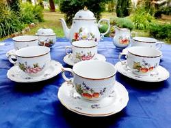 Hollóházi Sophiane kézzel festett teás keszlet