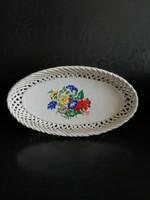 Áttört Bodrogkeresztúri kerámia tál - vintage dísztál - fonott peremű ovális tál