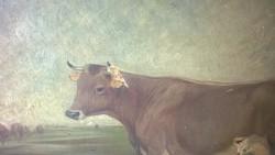 Antik vászon vakrámával ! holland festmény  eredeti állapotban o.,v.,sérült