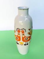 Retró Hollóházi turbékoló madaras porcelán váza, ritkább
