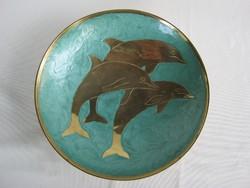 Delfines tűzzománcozott réz tál