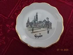 Aquincumi porcelán mini  asztalközép, Győr felirattal és a Városházával.