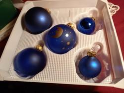 151 5 db kék üveg karácsonyfa dísz most olcsón 3-5 cm