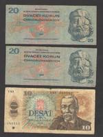10 korona 1986., és 2 db 20 korona 1970..  SZÉP BANKJEGYEK!!