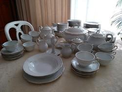 12 személyes  Zsolnay Barokk tollazott elegáns porcelán 89 db-os étkészlet teás készlet, süteményes