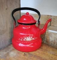 Piros zománcos, Zománcozott teáskanna, teafőző, nosztalgia darab, virágos, paraszti dekoráció