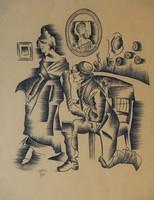 Molnár C. Pál Udvarlás, ceruzarajz