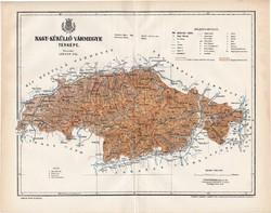 Nagy - Küküllő vármegye térkép 1897 (3), lexikon melléklet, Gönczy Pál, 23 x 29 cm, megye, Posner K.