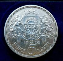 1931 Litván ezüst 5 Lati Gyönyörű VF érme