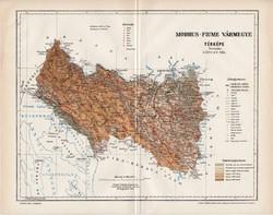 Modrus - Fiume vármegye térkép 1897 (6), lexikon melléklet, Gönczy Pál, 23 x 30 cm, megye, Posner K.