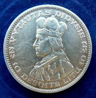 1936 Litván ezüst 10 Lati  Vytautas VF