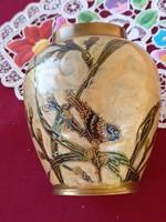 182 Kézzel festett madaras réz váza 11x9 cm