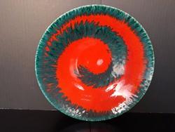 Nagy méretű, jelölt spirál mintás kerámia falitál, 29 cm